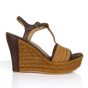UGG Fitchie Brown T-Strap Wedge Sandal